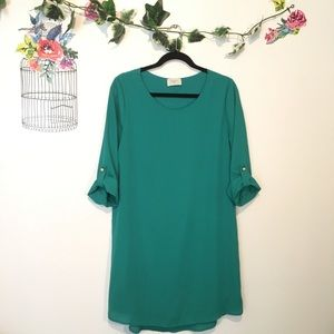 Everly teal mini tunic shift dress w/ pearls NWOT